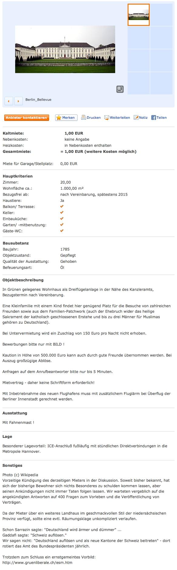 Immobilienscout 24 Anzeige Schloss Bellevue Christian Wullff Schönblick