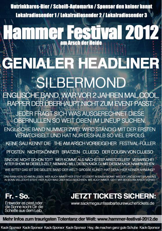 Jedes Festival 2012  Hammer Festival am Arsch der Heide Silbermond Spiegel Offline