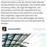 Kölner Stadt-Anzeiger Brand Hohenzollernbrücke