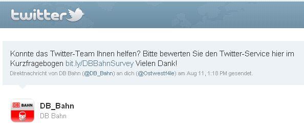 Kundenzufriedenheit Deutsche Bahn Twitter Direct Message