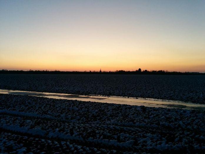 Laufen 28122014 Schnee Winter Kleinenbroich Sonnenuntergang