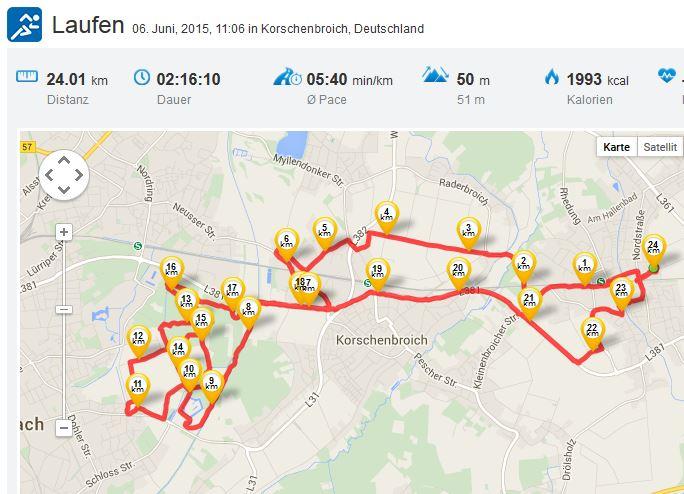 Laufen Kleinenbroich Niers Halbmarathon 05062015