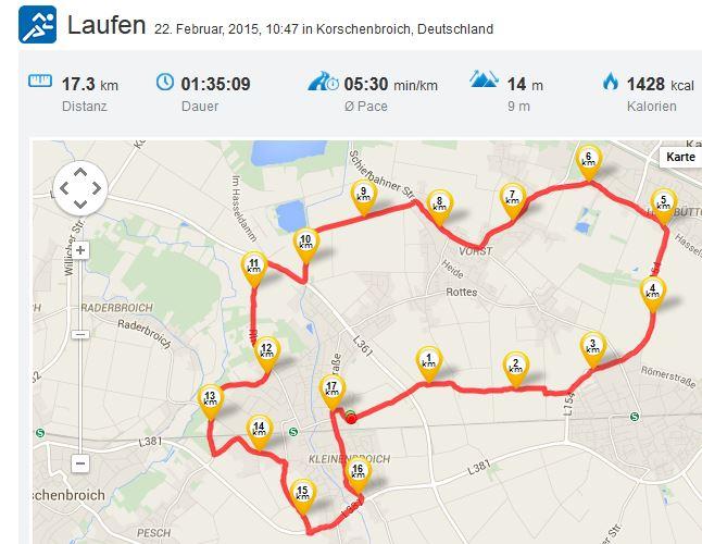 Laufen Running 22022015 längster Lauf bislang 17,3 km