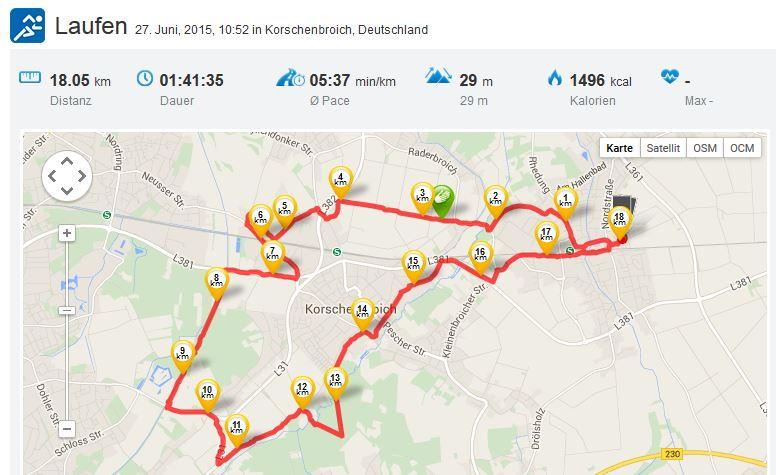 Laufen Running 27062015 Kleinenbroich Rheydt Schloss Niers Korschenbroich