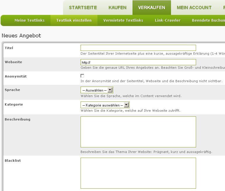 Linkmads.com Registrierung Textlinks verkaufen und Backlinks kaufen