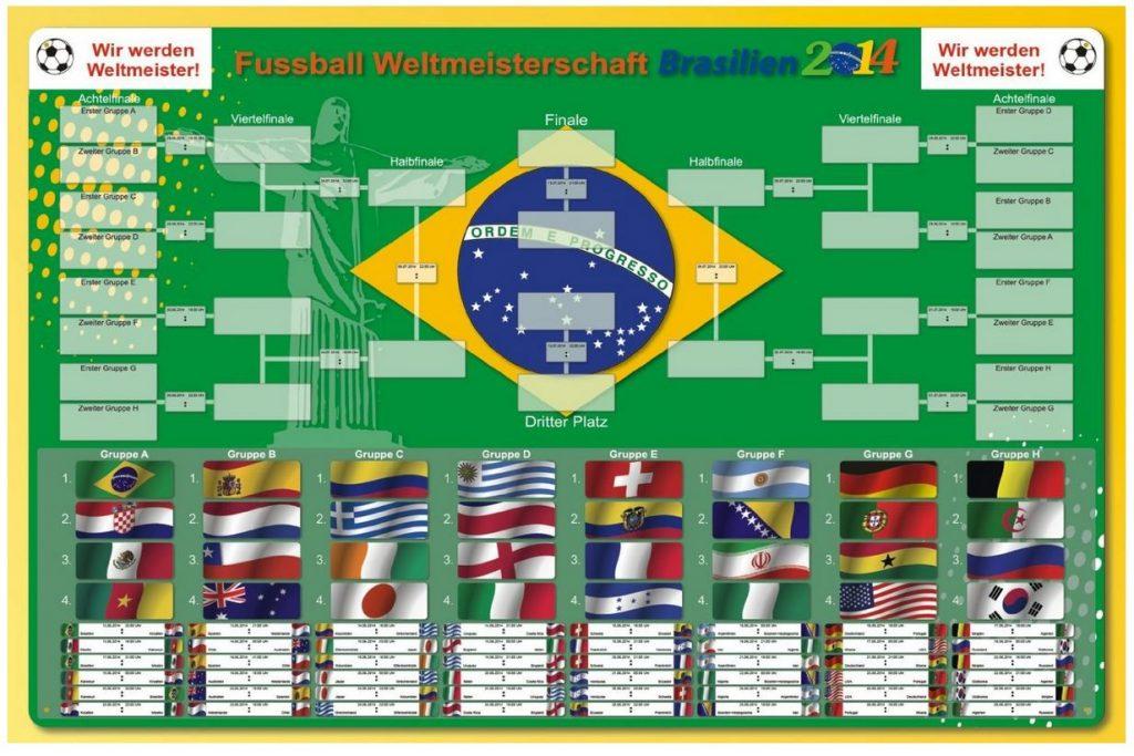 Magnettafel Whiteboard Fußball WM Brasilien 2014