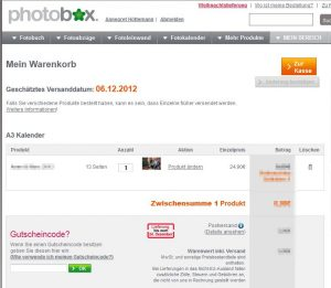 Mein PhotoBox - PhotoBox - Bestellung Warenkorb Kalender 2013
