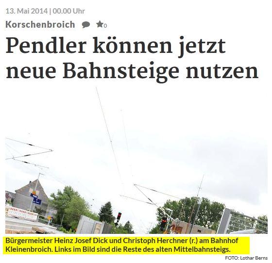 NGZ Online Bahnsteig Bahnhof Kleinenbroich Bauarbeiten Deutsche Bahn Heinz Josef Dick