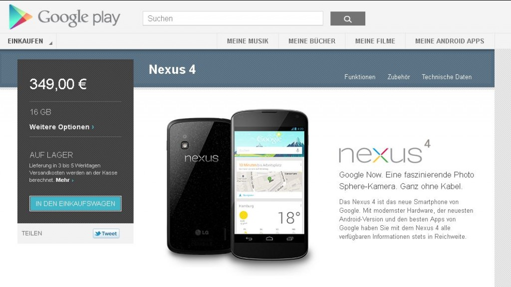 Nexus 4 (16 GB) - Google Play - Warenkorb