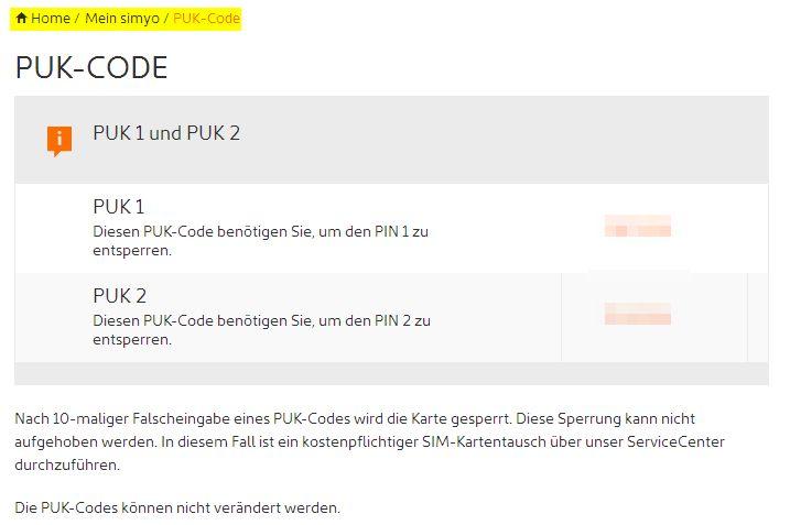 PUK Code simyo SIM Karte Abfrage