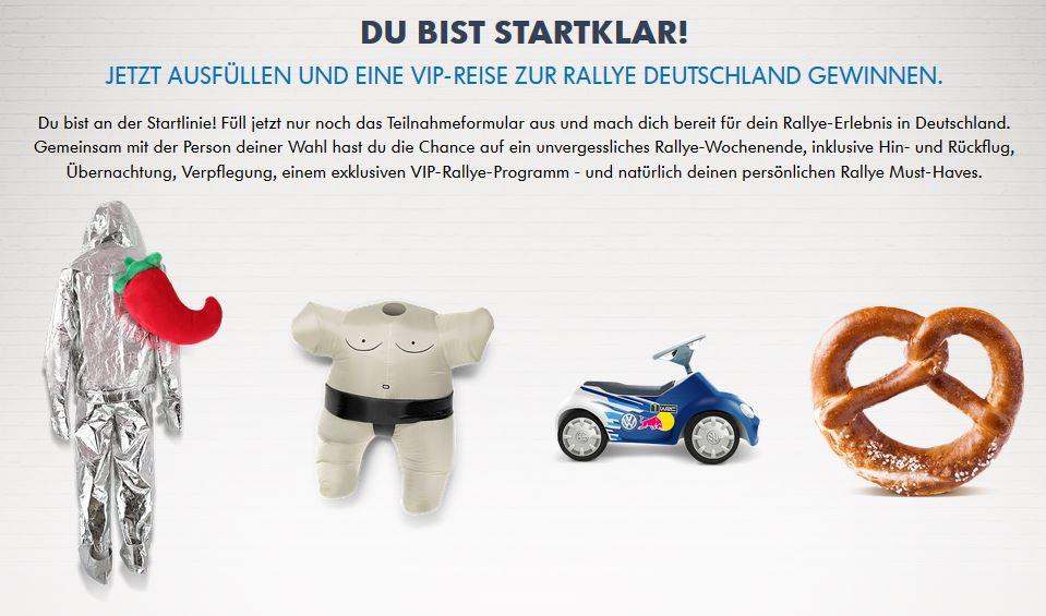 Pack4Rally Volkswagen Teilnahme Gewinnspiel