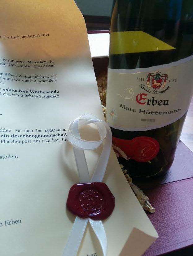 Paket Geschenk Erben Wein Familie F. W. Langguth Einladung