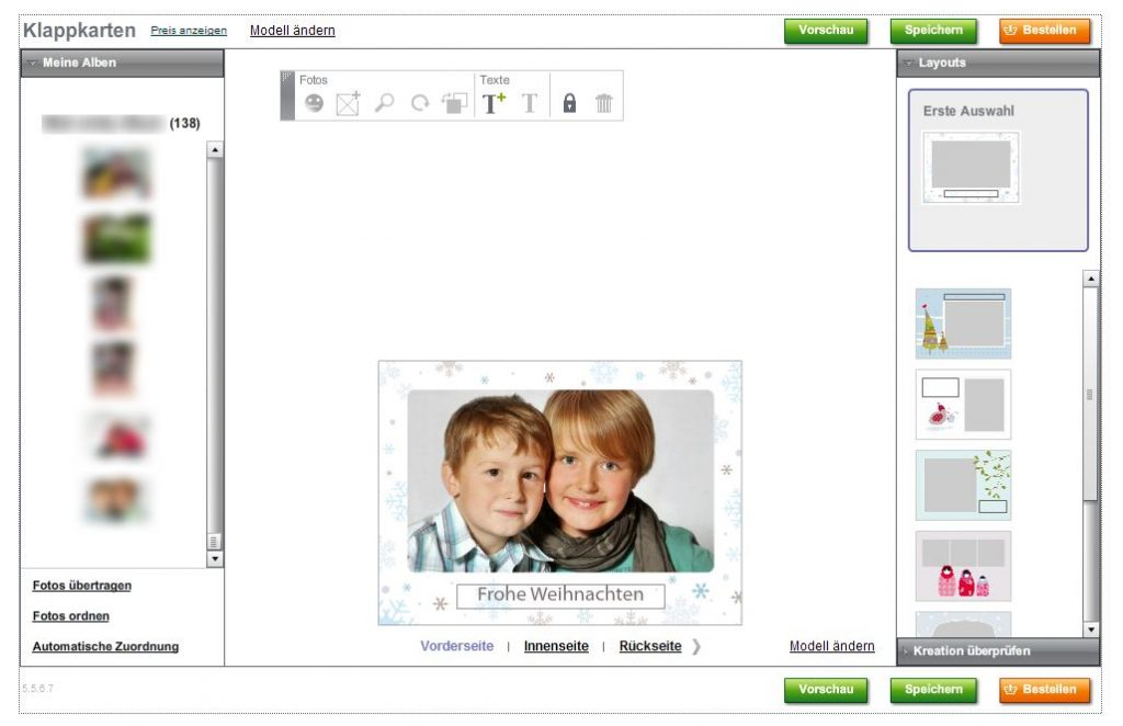Photobox Weihnachtskarte Layout