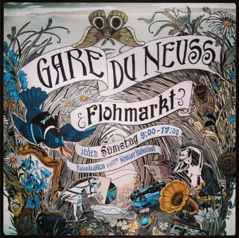 Plakat Gare du Neuss Flohmarkt Rheinland