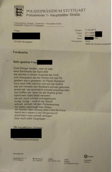 Polizeipräsidium Stuttgart Brief Gedicht