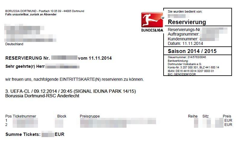 Reservierung Tickets Eintrittskarte Borussia Dortmund BVB Champions League Saison 2014 2015