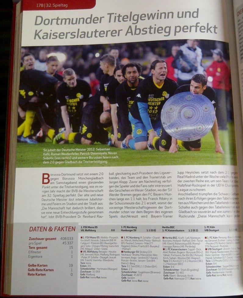Rezension Seiteninhalt DFL Bundesliga - Das offzielle Saisonbuch 2012