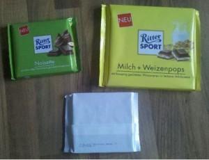 Ritter Sport Paket Herbst 2011 Noisette Milch + Weizenpops Gebrannte Mandeln