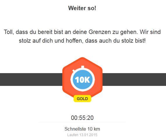 Runtastic Rekord Laufen 10 km 13012015