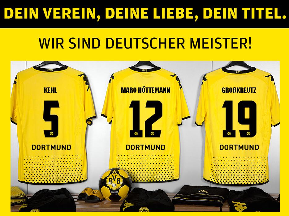 SIGNAL IDUNA PARK Meisteraktion Foto Dein Verein, Deine Liebe, Dein Titel BVB Borussia Dortmund Deutscher Meister 2012