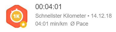 Schnellster Kilometer 4_01 Pace