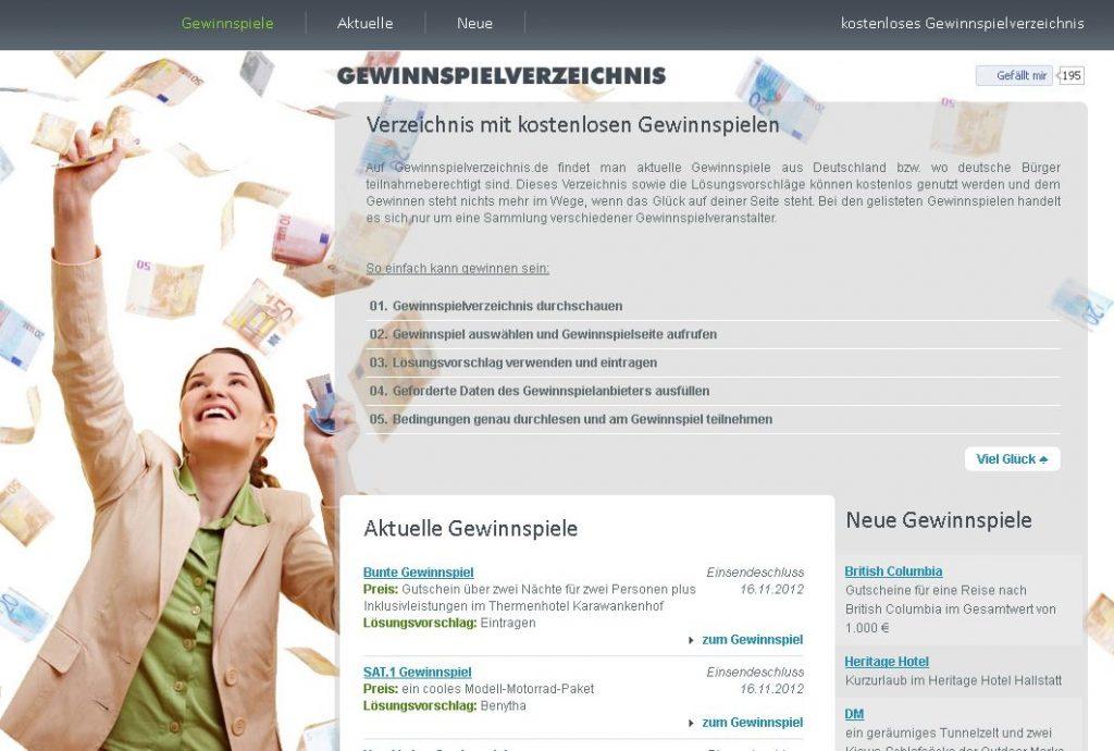 Screenshot gewinnspielverzeichnis.de Gewinnspiele für Deutschland kostenlos auf Gewinnspielverzeichnis
