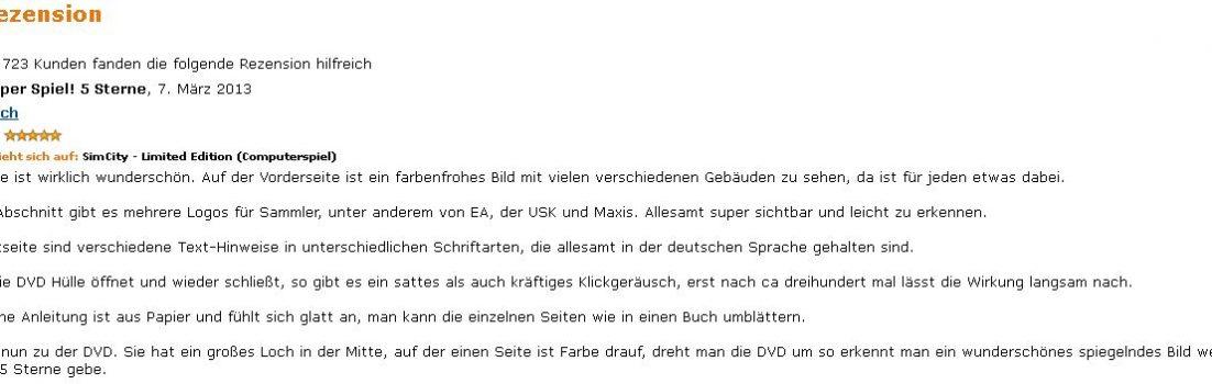 SimCity Rezension amazon.de