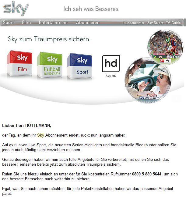 Sky Rückholangebot April 2015 Vorzeitig Vorzugspreis sichern