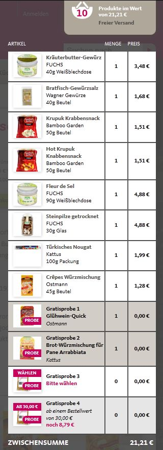 So schmeckt´s Online Shop Warenkorb