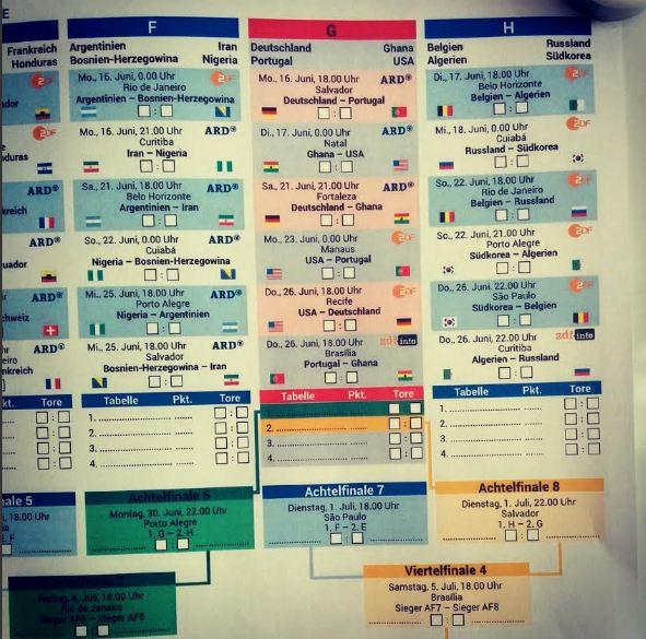 Spielplan WM 2014 Brasilien Download Bild.de