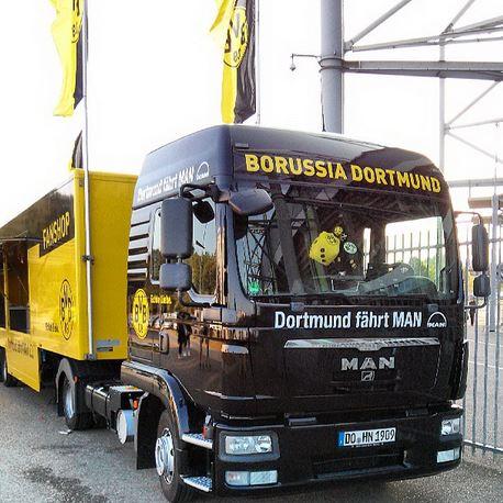 Telekom Cup 2013 Borussiapark Mönchengladbach Borussia Dortmund BVB Fanshop Truck LKW