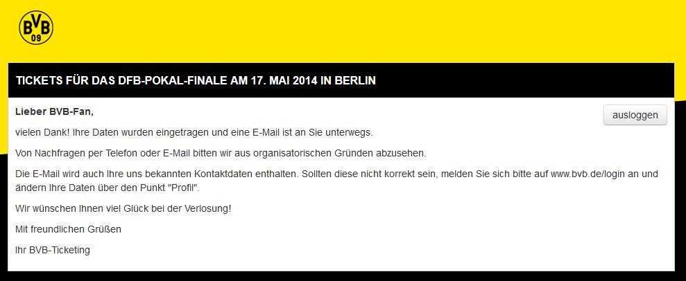 Tickets für das DFB-Pokal-Finale Mai 2014