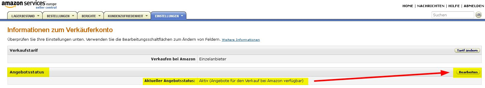 Tutorial Amazon Marketplace Konto pausieren Urlaub 3