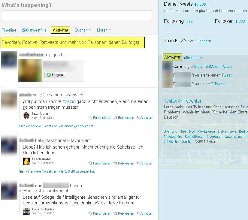 Twitter Aktivitäten Stream Screenshot