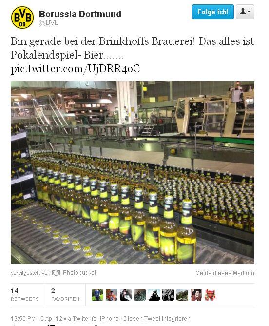 Twitter BVB Brinkhoffs Brauerei Bier Pokalendspiel - Bier 2012