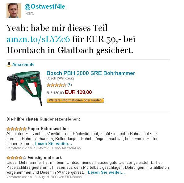 Twitter Bosch PBH 2000 SRE Borhammer amazon Hornbach