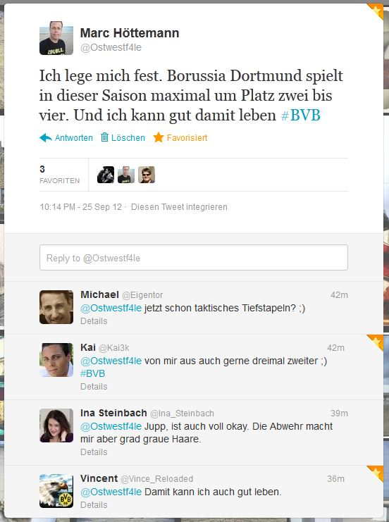 Twitter  Ostwestf4le Ich lege mich fest.... BVB 5. Spieltag Saison 2012 2013
