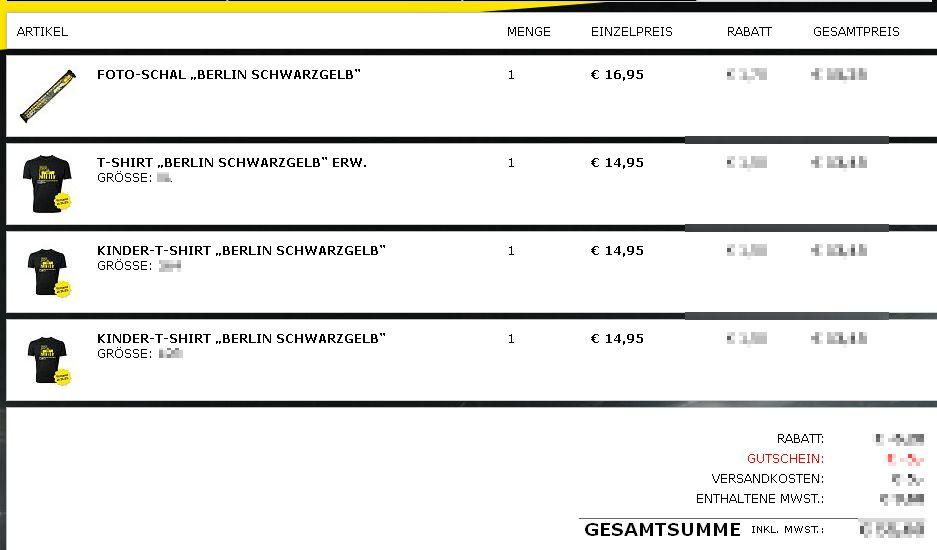Warenkorb  Borussia Dortmund  Offizieller BVB Online Fanshop Pokalfinale 2012 Berlin T-Shirt Schal