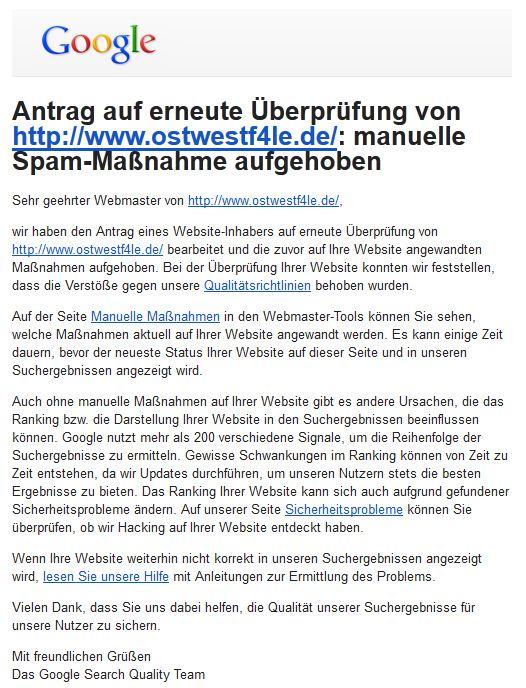 Google Webmaster-Tools Antrag auf erneute Überprüfung