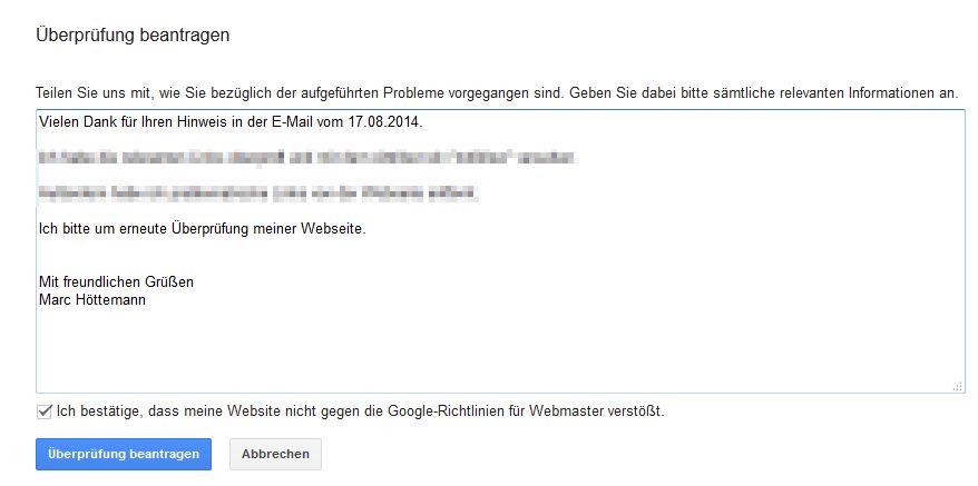 Webmaster-Tools - Manuelle Maßnahmen - erneute Überprüfung