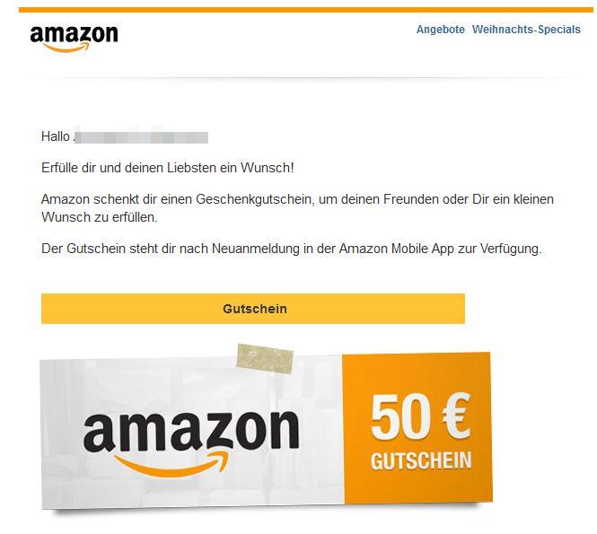 Weihnachtsaktion Amazon Gutschein Spam Betrug