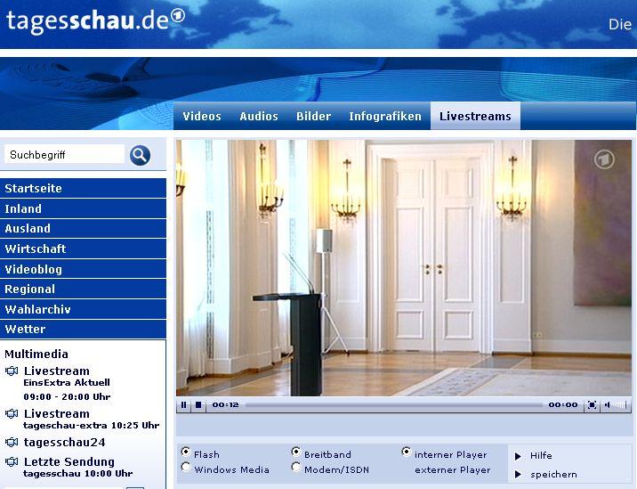 Wulff Erklärung ARD Tagesschau livestream Bundespräsident
