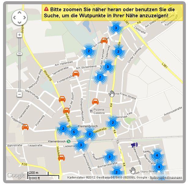 Wutpunkte.de Ärger Lärm Müll Straßenverkehr Kleinenbroich Niederrhein Stand 06082012