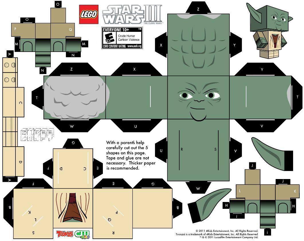 Yoda Paperkraft Kartonmodellbau Star Wars Minifigur Bogen
