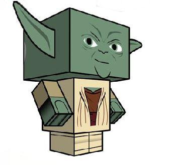 Yoda Paperkraft Kartonmodellbau Star Wars Minifigur