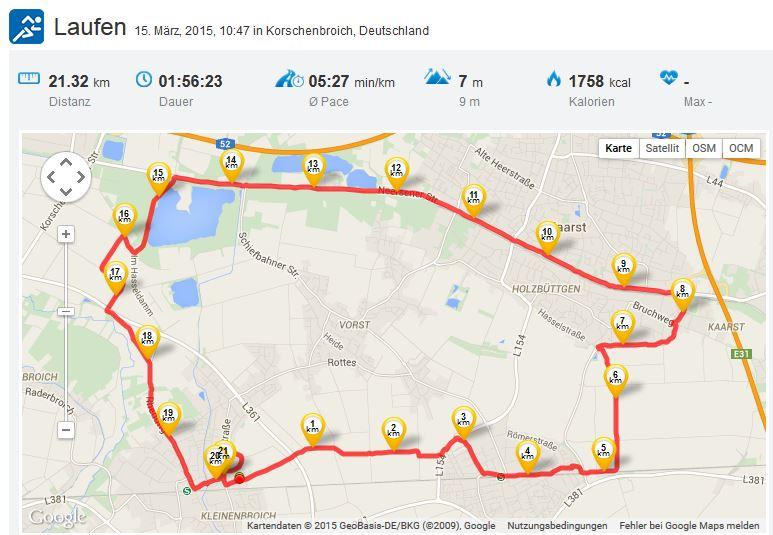 Zweiter Halbmarathon 15032015 Running Laufen