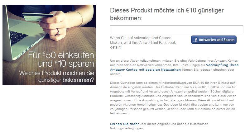 amazon Gutschein Facebook zehn Euro