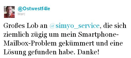 simyo Service Danke