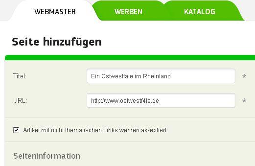 trustlink.de Seite hinzufügen Webmaster