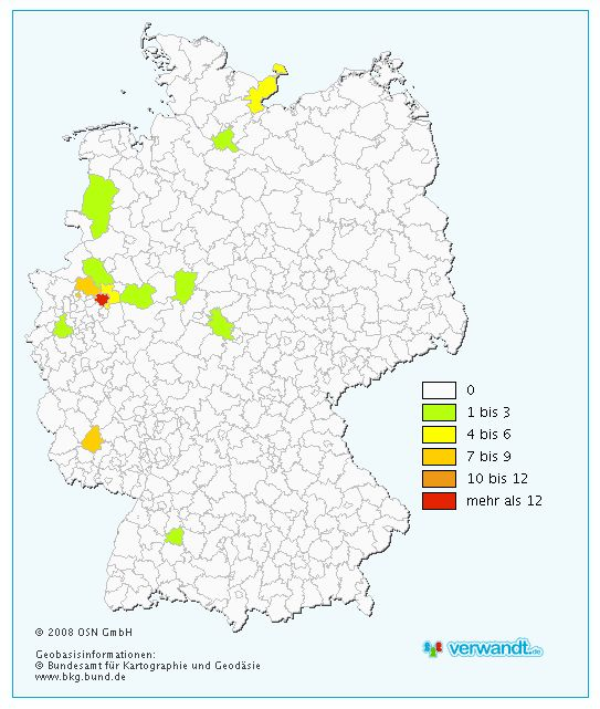 verwandt.de Nachname Höttemann Verbreitung Deutschland